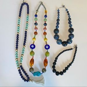 Lot of 4 statement bead necklaces multi stone